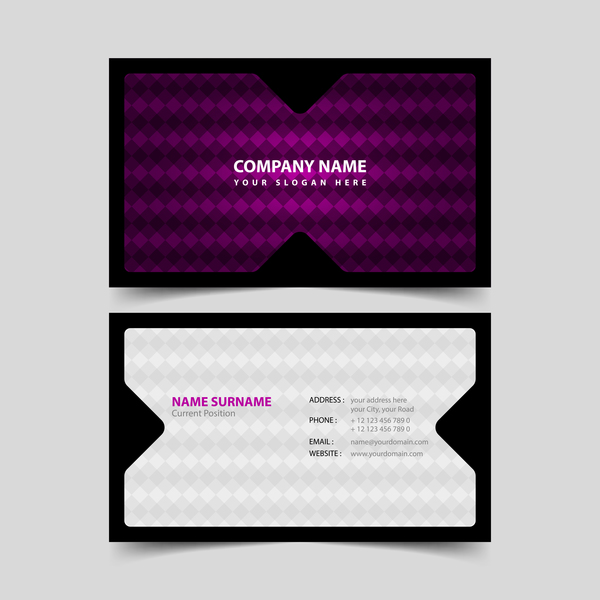 Black with purple business card remplate vector 02 free download