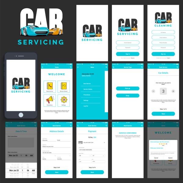 Car servicing app UI design vector free download