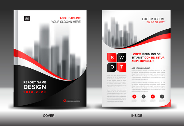 Black with red annual report brochure cover template vector 03 free