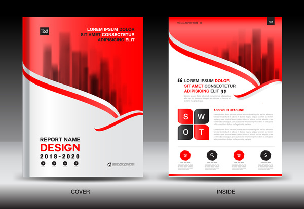 Black with red annual report brochure cover template vector 10 free