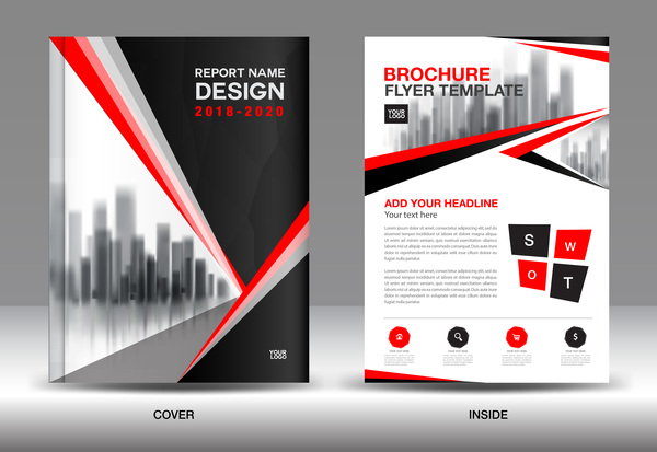 Black with red annual report brochure cover template vector 11 free