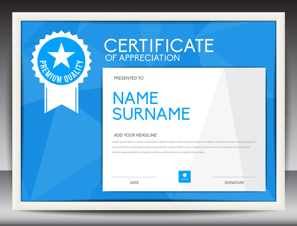 Blue certificate template layout design vector 07 free download