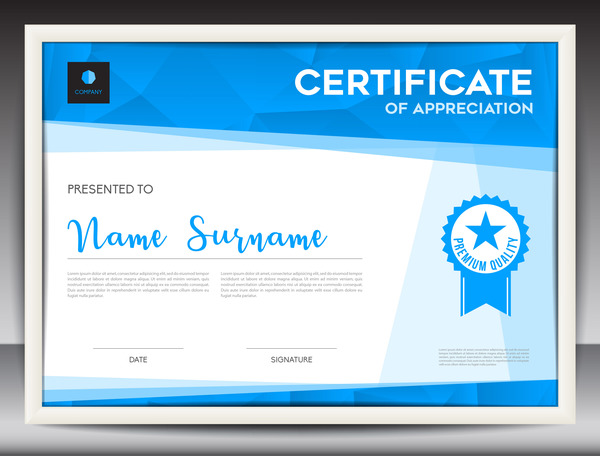 Blue certificate template layout design vector 08 free download