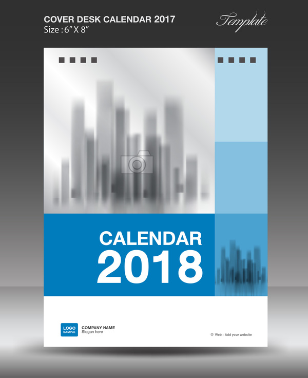 Blue vertical desk calendar 2018 cover template vector free download