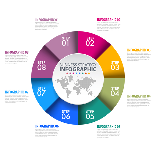 Colored circle infographic template vector free download