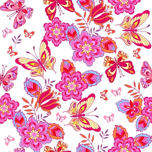 Cute pink butterflies on a white background vector free download