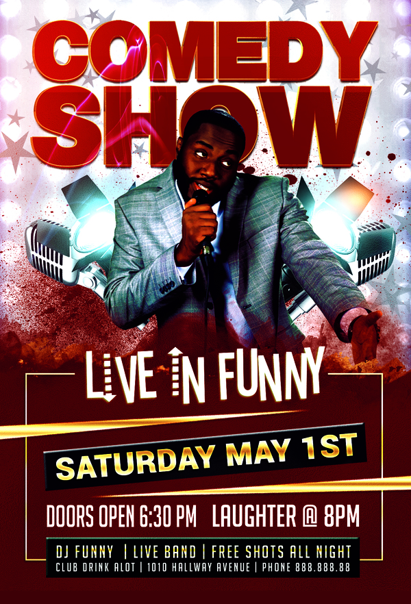 Funny Comedy Show Flyer Psd Template - Other PSD free download - comedy show flyer template