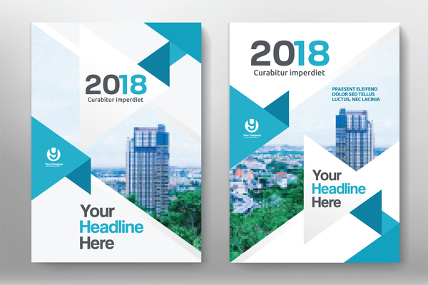 2018 flyer and cover brochure template vector 09 - Vector Cover - architecture brochure template