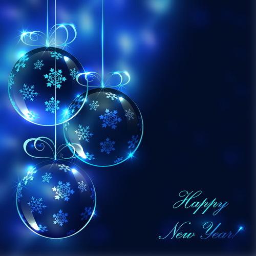 Elegant christmas card blue vector design free download