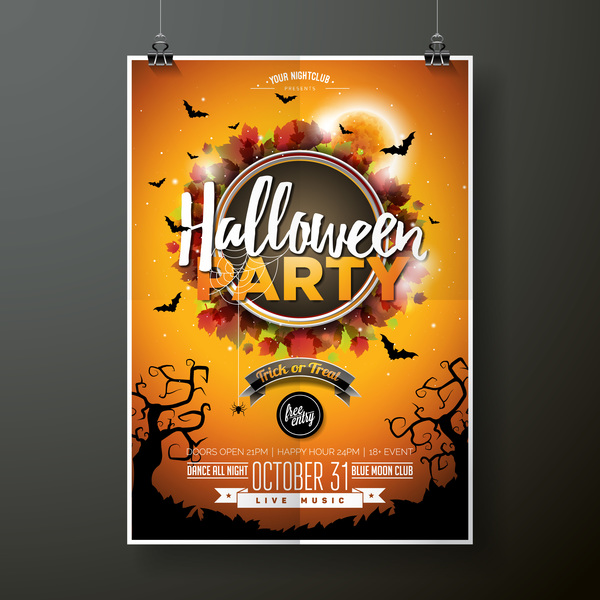 Halloween flyer with poster cover template vector 03 free download