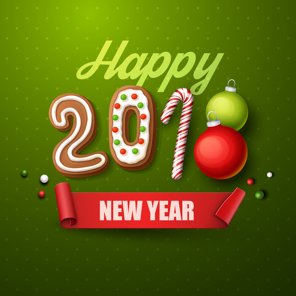2018 happy new year green background vector free download