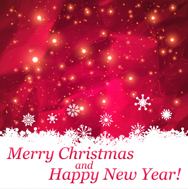 Merry christmas and happy new year background red abstract vector
