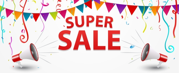 Super sale poster template vector material free download
