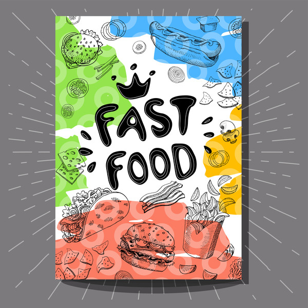 hand drawn fast food flyer template vector free download