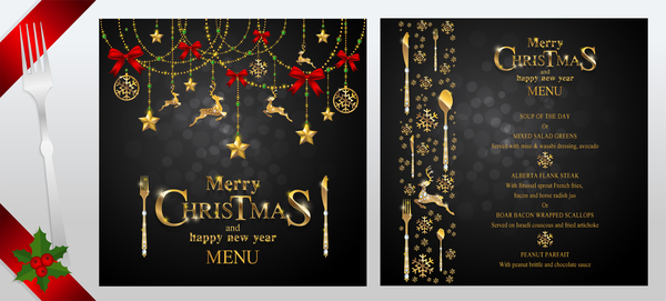 Black christmas with new year menu template vector 03 free download