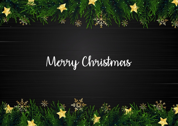 Christmas black background with fir border vector free download
