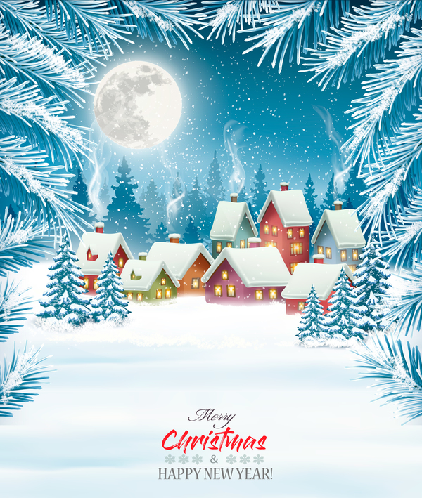 merry christmas background with winter village vector free download