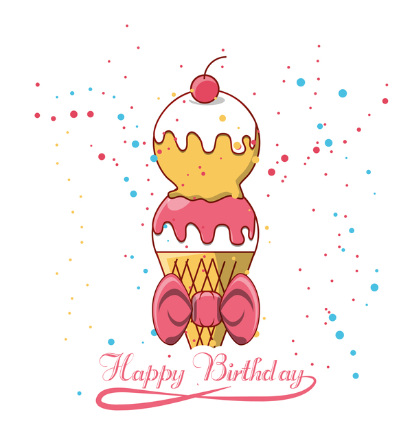 Happy birthday ice cream background vectors free download