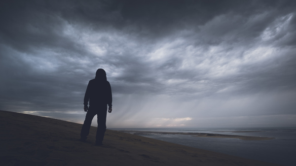 3d Emoticons Wallpapers Man Standing Alone On Beach Stock Photo Free Download