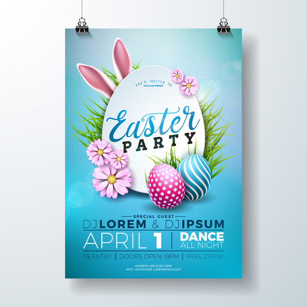Easter party flyer with poster template vectors 02 free download