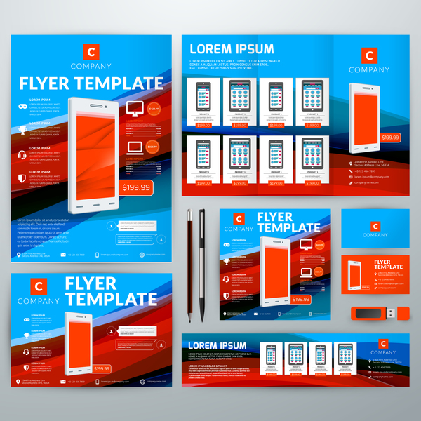 Electronic product flyer template vector 01 free download