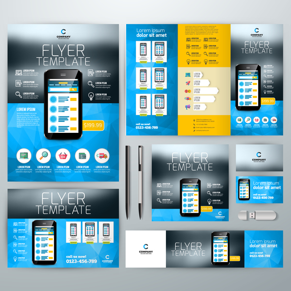 Electronic product flyer template vector 02 free download