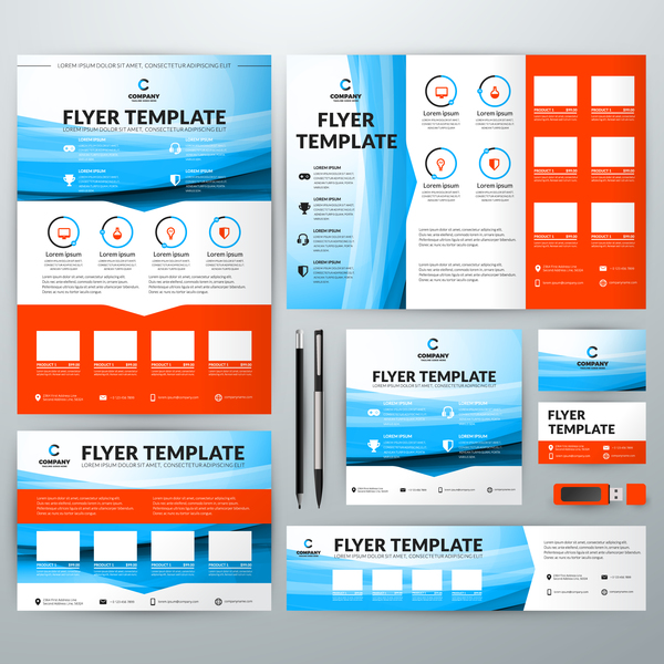 Electronic product flyer template vector 07 free download