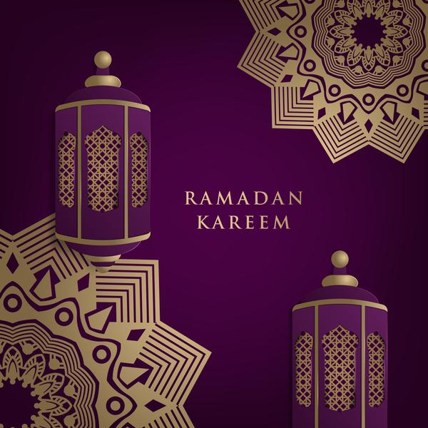 Eid Mubarak Wallpaper 3d Islamic Ramadhan Purple Backgrounds Vectors 01 Free Download
