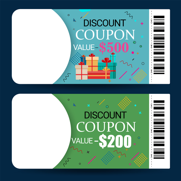 Discount coupon template vector 02 free download