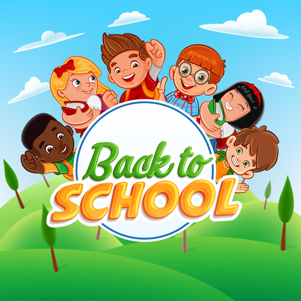 Cartoon kids with back to school background vector 01 free download
