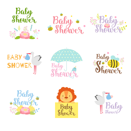 Baby shower card template vector set 07 free download