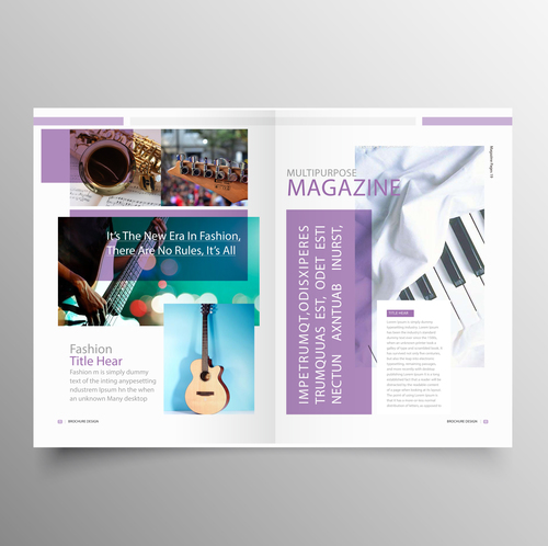 Music brochure template purple styles vector 03 free download - music brochure