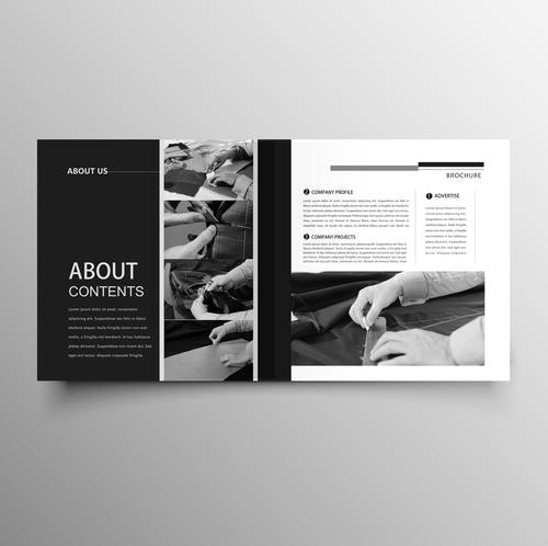 Garment company brochure template black styles vector 01 free download - Company Brochure Templates