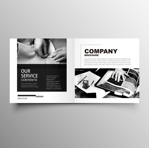 Garment company brochure template black styles vector 03 free download