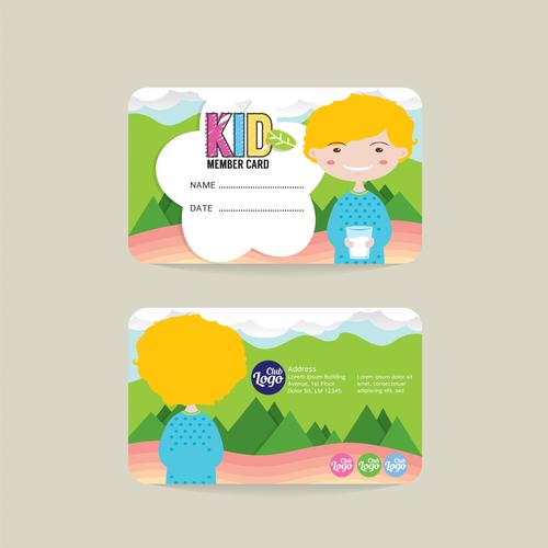 Kid club member card template vector 01 free download