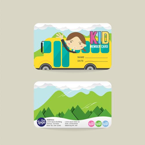 Kid club member card template vector 03 free download