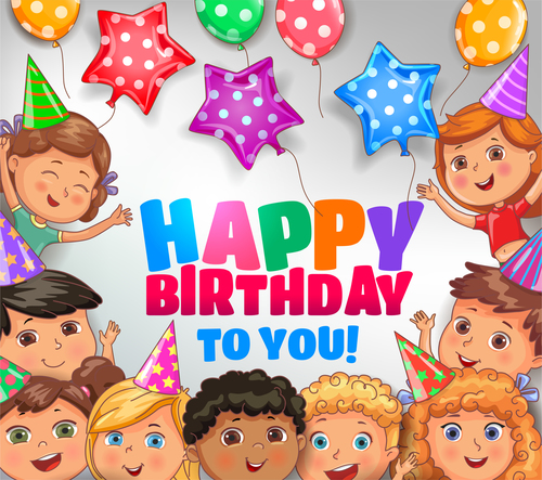 Happy birthday to you bright design with cute children vector free