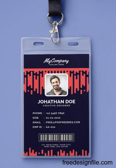 Corporate or Company Photo Identity Card PSD Template free download
