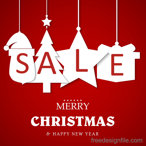 Christmas discount sale poster template vectors 04 free download