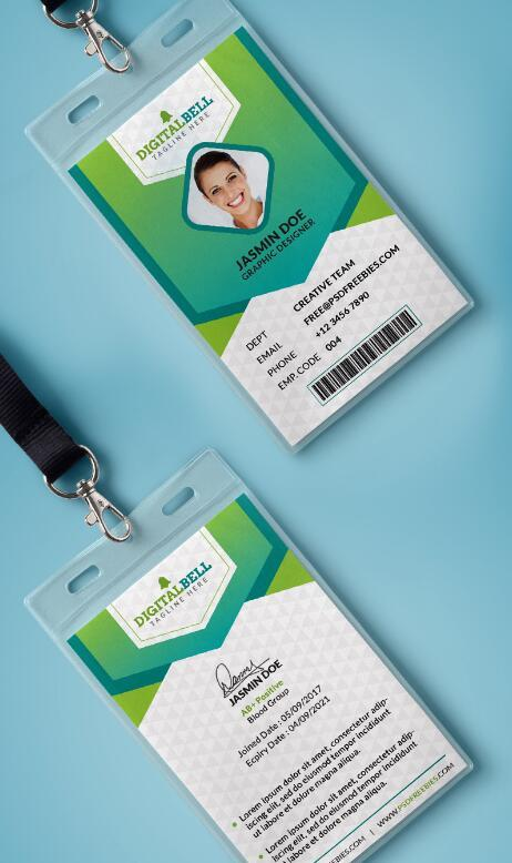 Company Photo Identity Card PSD Template free download