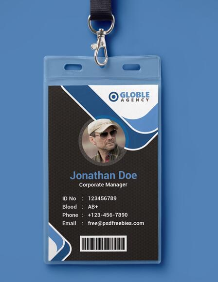 Dark Blue Office ID Card PSD Template free download