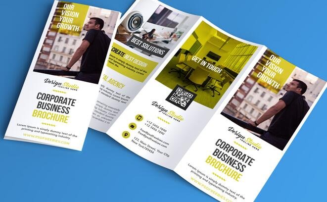 Professional Trifold Flyer and Brochure PSD Template free download