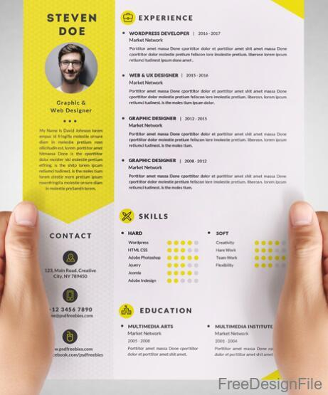 cv template yellow icons