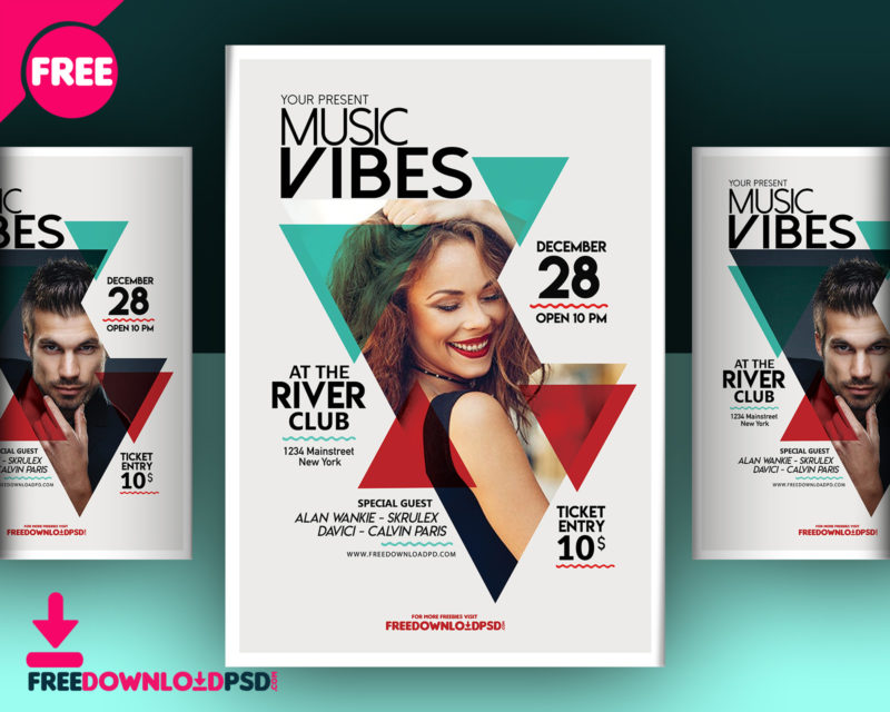 Download Music Club Flyer Template FreedownloadPSD - advertising flyer template