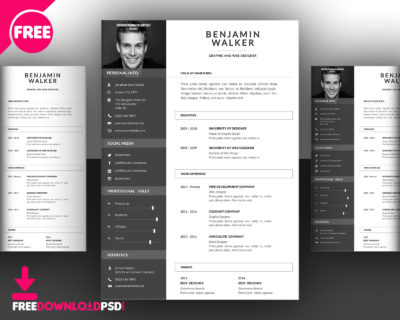 Designer CV Template Free PSD FreedownloadPSD - attractive resume template