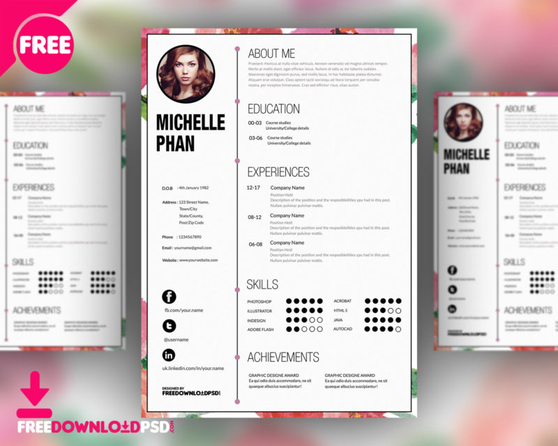 Designer CV Template Free PSD FreedownloadPSD - a great cv example