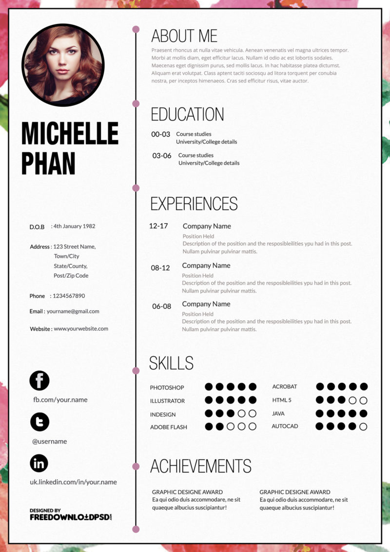 Free personal adobe indesign resume 50 best minimal resume free cv template adobe indesign 50 beautiful free resume cv templates in ai indesign designer cv yelopaper Gallery