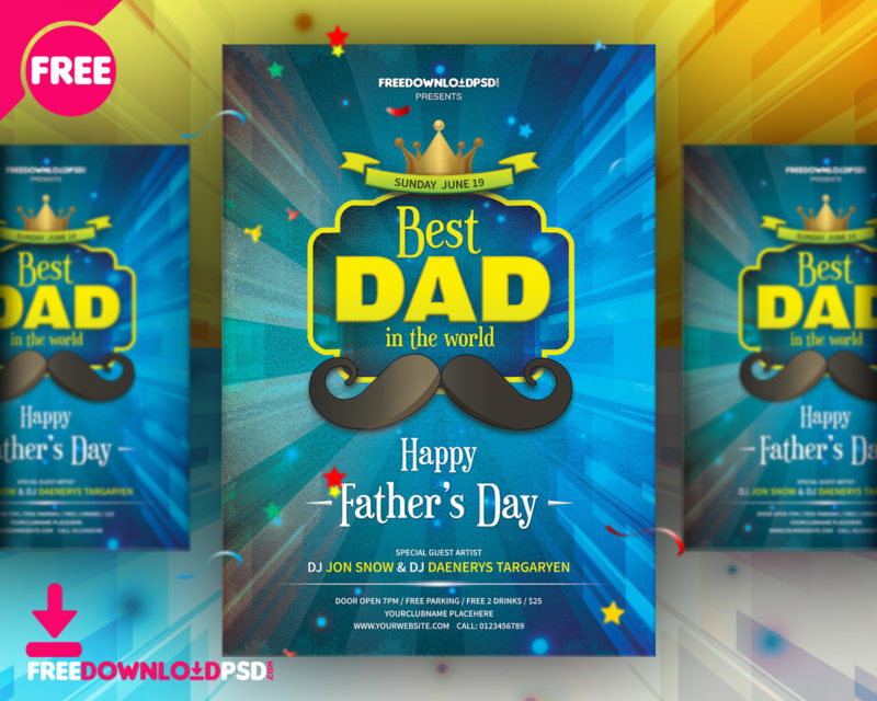 Download Fathers Day Party Flyer FreedownloadPSD