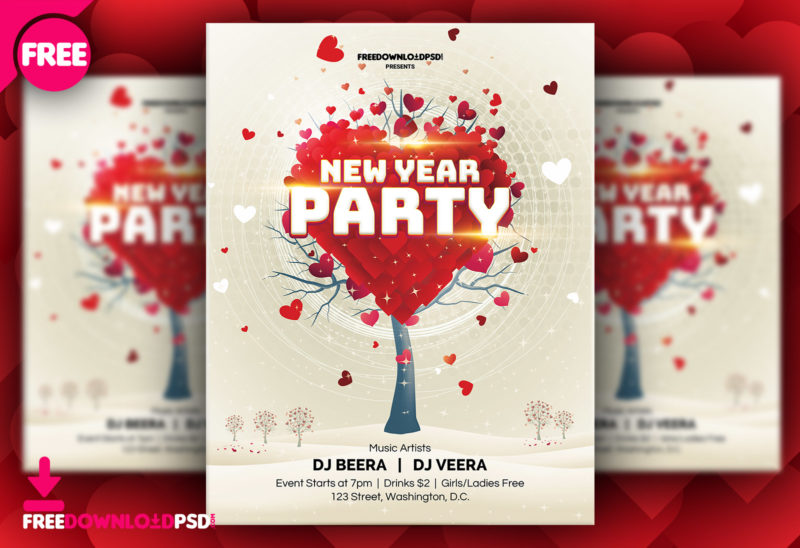 Free New Year Party Flyer Template FreedownloadPSD - new year poster template