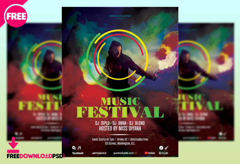 Free Download Music party flyer FreedownloadPSD